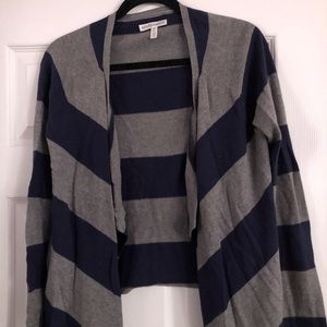 Navy and Grey Striped Sweater Small